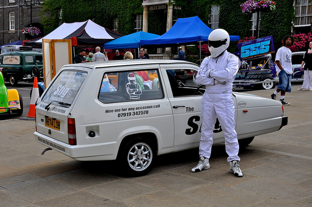"Top Gear's ""The Stig"" AKA Ben Collins in a Robin Reliant"
